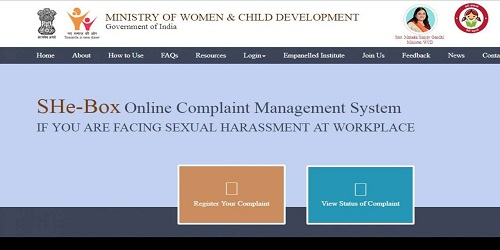 Complaint portal 'SHe-Box' of WCD Ministry linked to central