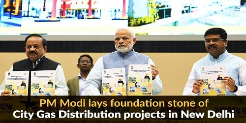 P.M.Modi laid foundation stone for city gas work