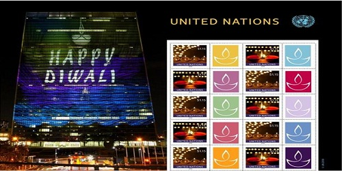 Stamps with Diyas lamps to mark the celebration of Deepawali issued by United Nations Postal System