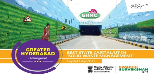 Swachh Surveksahan 2018 award for Best Capital city in the Solid Waste Management given to GHMC