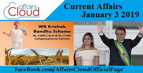 Current Affairs January 3 2019