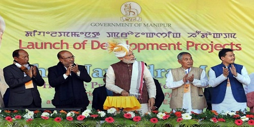 PM inaugurated 12 projects worth over Rs. 1500 crore on his one-day visit to Imphal, Manipur