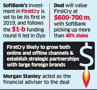 Softbank to acquire 40% stake in FirstCry for $400 mn