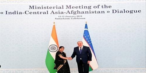 Swaraj on 2-day visit to Samarkand,Uzbekistan