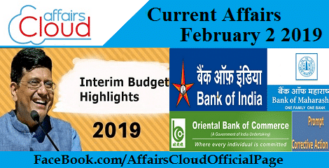 Current Affairs February 2 2019