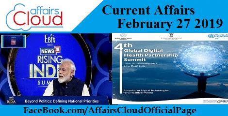 Current Affairs February 27 2019