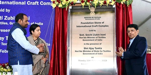 Smriti Irani laid the foundation stone of a Hastshilp Complex in New Delhi