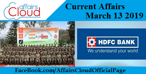 Current Affairs March 13 2019