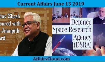 Current Affairs June 13 2019
