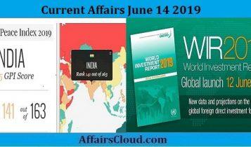 Current Affairs June 14 2019