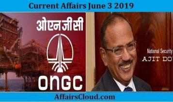 Current Affairs June 3 2019