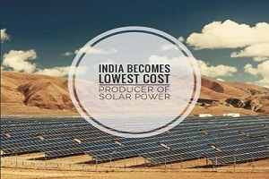 India the Lowest Cost Producer of Solar Power.