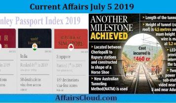 Current Affairs July 5 2019
