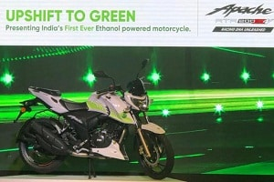 India's first Ethanol based motorcycle 'TVS Apache RTR 200 Fi E100