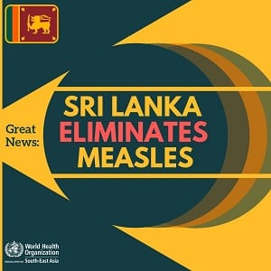 Sri Lanka declared 'measles-free' nation by WHO