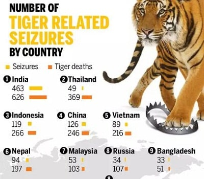 "2019 report by ""TRAFFIC"" reveals 2000 tigers poached"