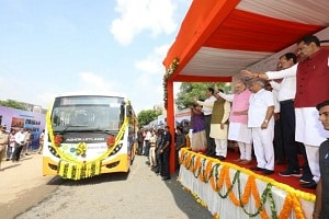 Amit Shah flags off the first fleet of eco-friendly e- buses in Ahmedabad, Gujarat