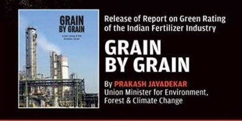 "Prakash Javadekar released a report titled ""Grain by Grain"""