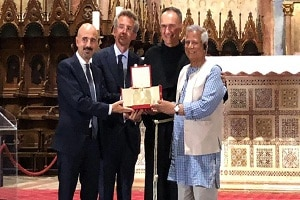 Bangladesh's Muhammad Yunus conferred 'Lamp of Peace of Saint Francis ' award by Vatican