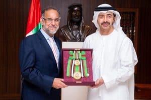 Indian Ambassador to UAE Navdeep Suri conferred with UAE Order of Zayed II