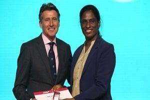 PT Usha honoured with Vetran Pin by IAAF in 52nd IAAF Congress