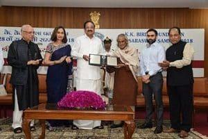 Telugu poet K Siva Reddy with 28th Saraswati Samman award
