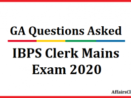 GA Questions Asked in IBPS Clerk Mains Exam 2020