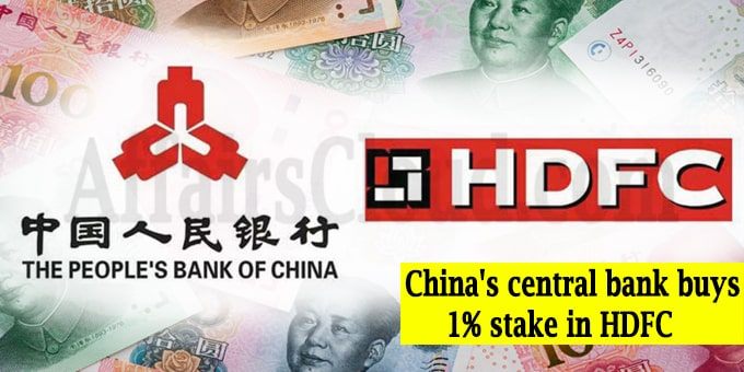 China's central bank buys stake in HDFC