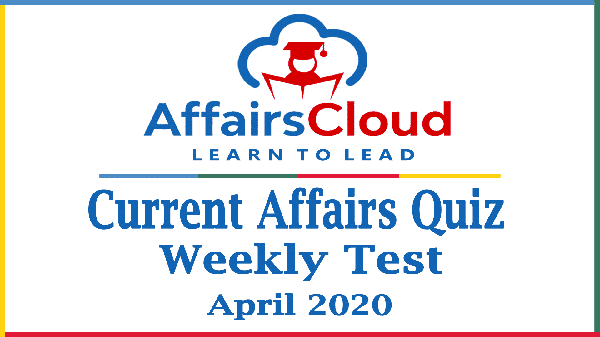 Current Affairs Weekly Test April 2020 new