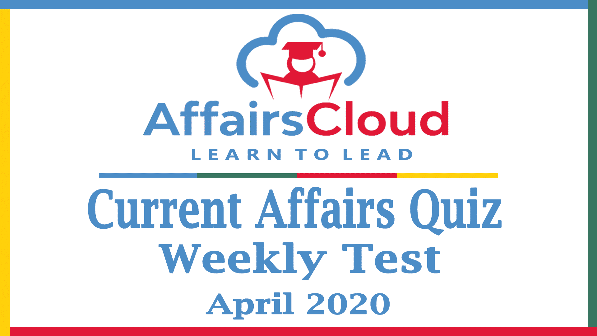 Current Affairs Weekly Test April 2020