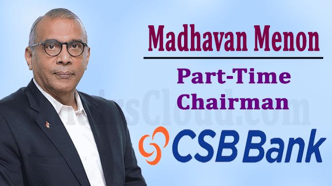 Madhavan Menon's term as part-time Chairman