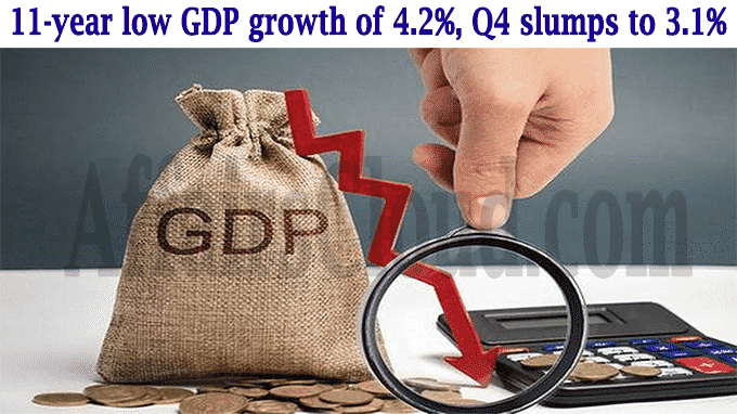 11-year low GDP growth of 4