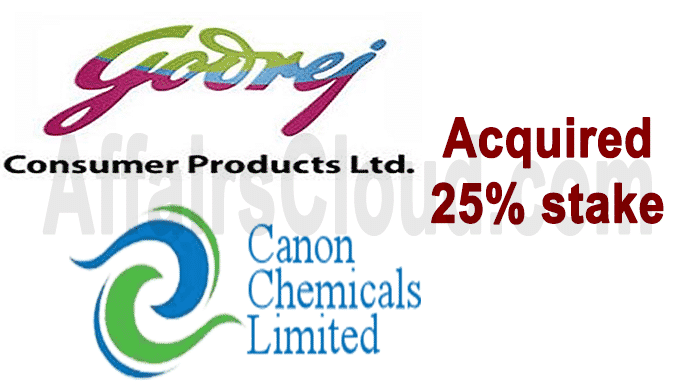 GCPL acquires balance 25% stake in Canon Chemicals