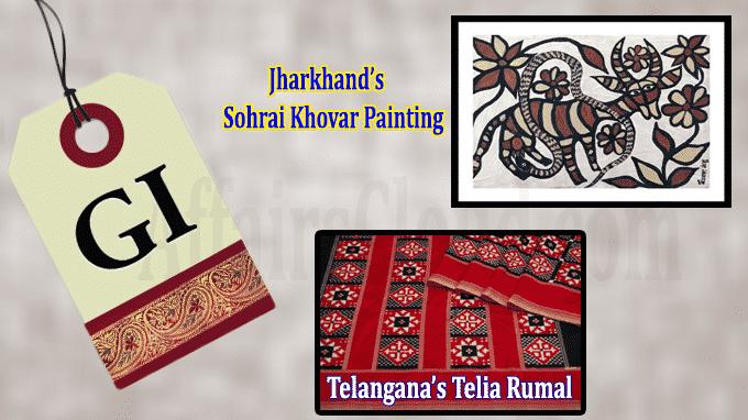 GI tag for Jharkhand's Sohrai Khovar painting, Telangana's Telia Rumal