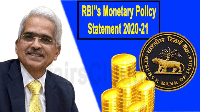 RBI''s monetary policy statement 2020-21