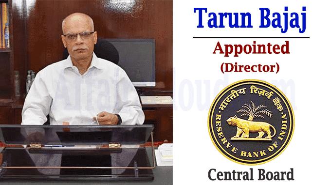 Tarun Bajaj as Director on RBI Central Board