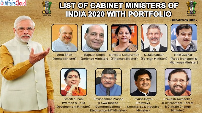 List of Cabinet Ministers of India with Portfolio