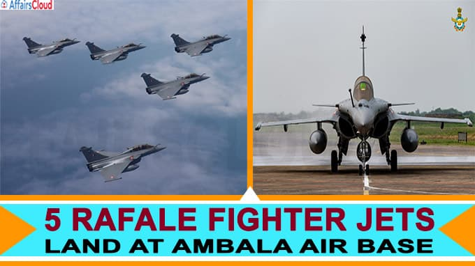 5 Rafale Fighter Jets Land At Ambala Air Base