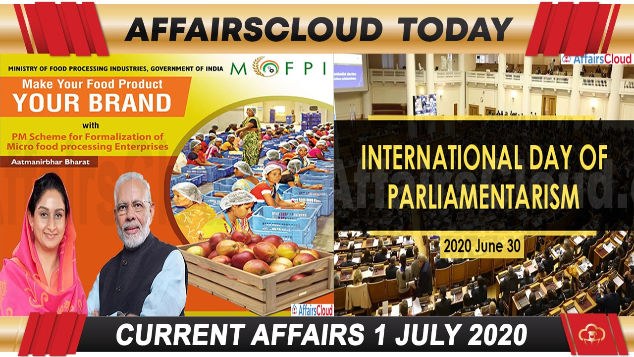 Current Affairs July 1 2020 new