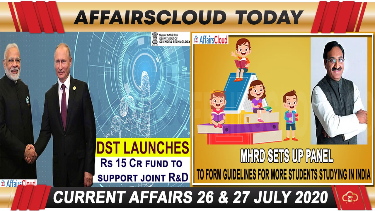 Current Affairs July 26 & 27 2020