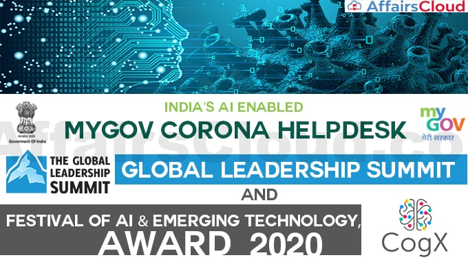 India's-AI-enabled-MyGov-Corona-Helpdesk-bagged-two-awards-at-Global-Leadership-Summit-and-Festival-of-AI-&-Emerging-Technology,-CogX-2020