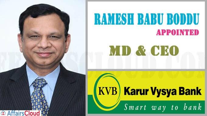 Karur Vysya Bank appoints Ramesh Babu Boddu as MD & CEO