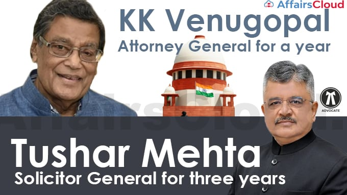 Tushar-Mehta-re-named-Solicitor-General-for-three-years,-KK-Venugopal-Attorney-General-for-a-year