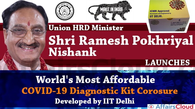Union-HRD-Minister-Shri-Ramesh-Pokhriyal-'Nishank'-Launches-World's-Most-Affordable-COVID-19-Diagnostic-Kit-Corosure-Developed-by-IIT-Delhi