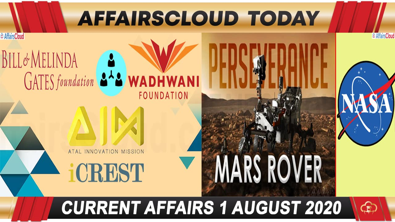 Current Affairs August 1 2020