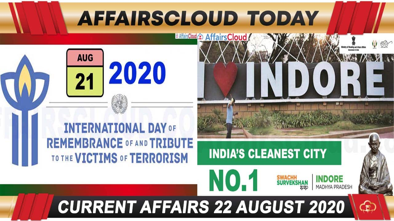 Current Affairs August 22 2020 new