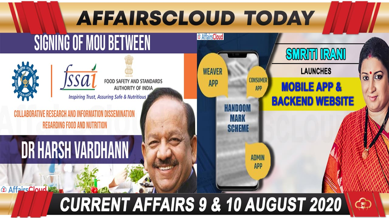 Current Affairs August 9 & 10 2020