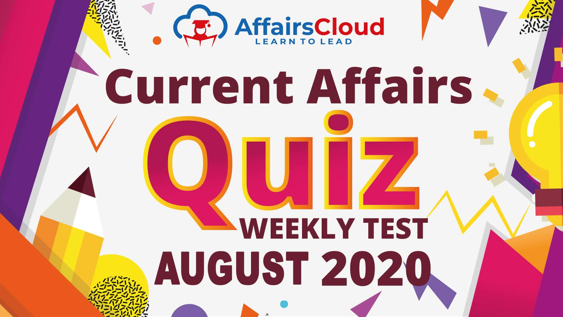 Current Affairs Weekly Test August 2020