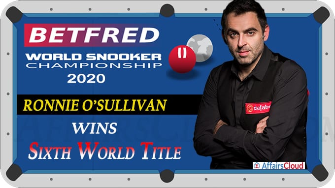 Ronnie O'Sullivan wins sixth world title