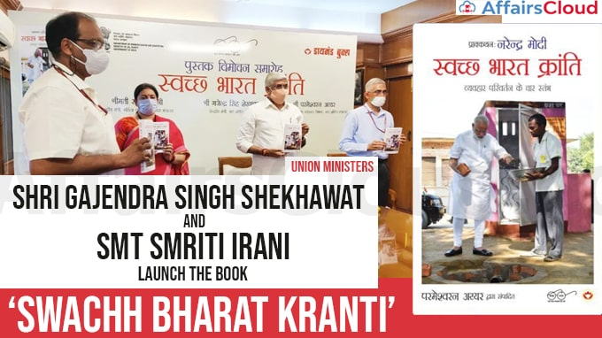 Union-Ministers-Shri-Gajendra-Singh-Shekhawat-and-Smt-Smriti-Irani-launch-the-book-'Swachh-Bharat-Kranti'-in-hindi